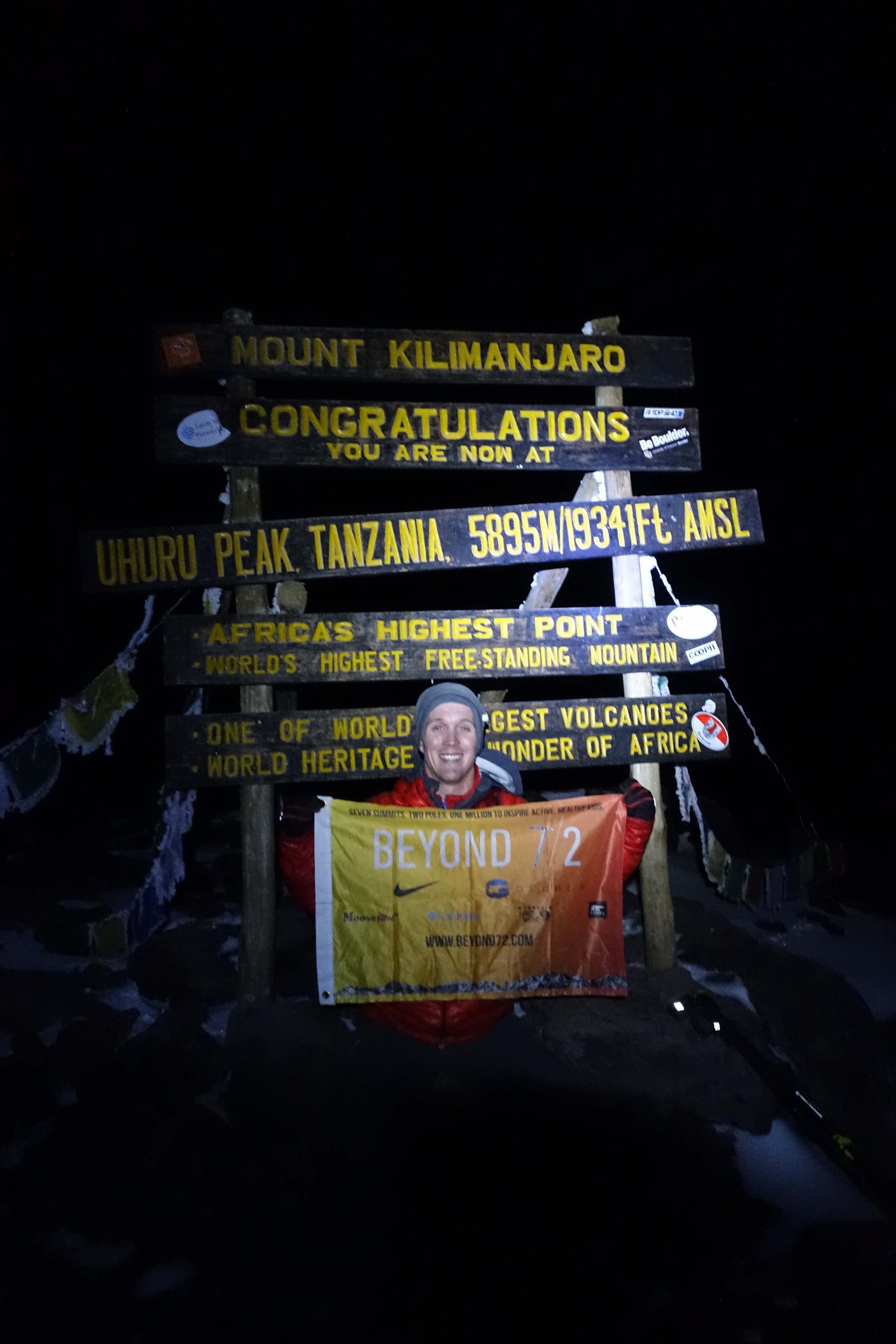 Summit shot in the dark after 11 hours of climbing from the base of Mt. Kilimanjaro.