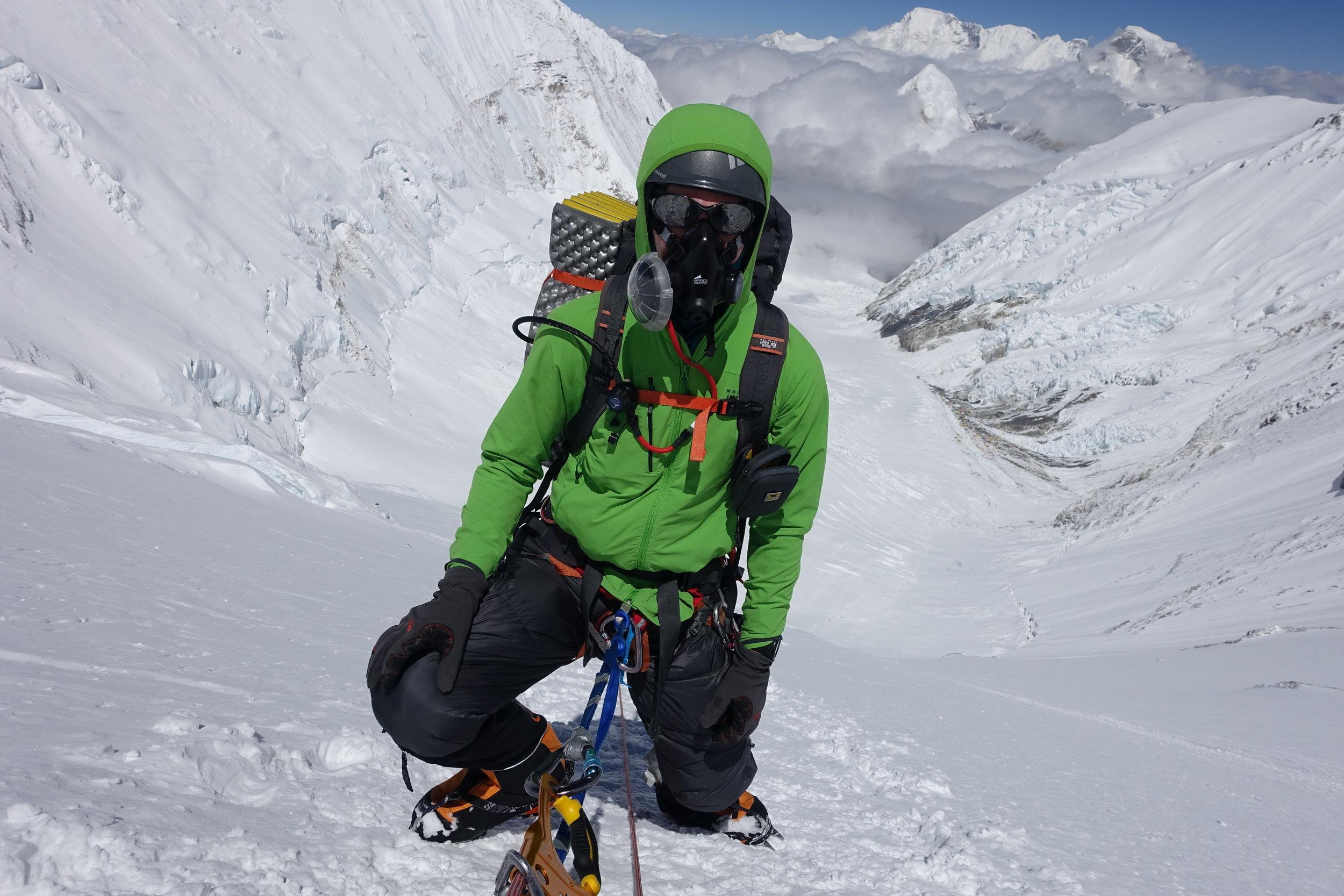 Climbing on Everest's notorious Lhotse Face.