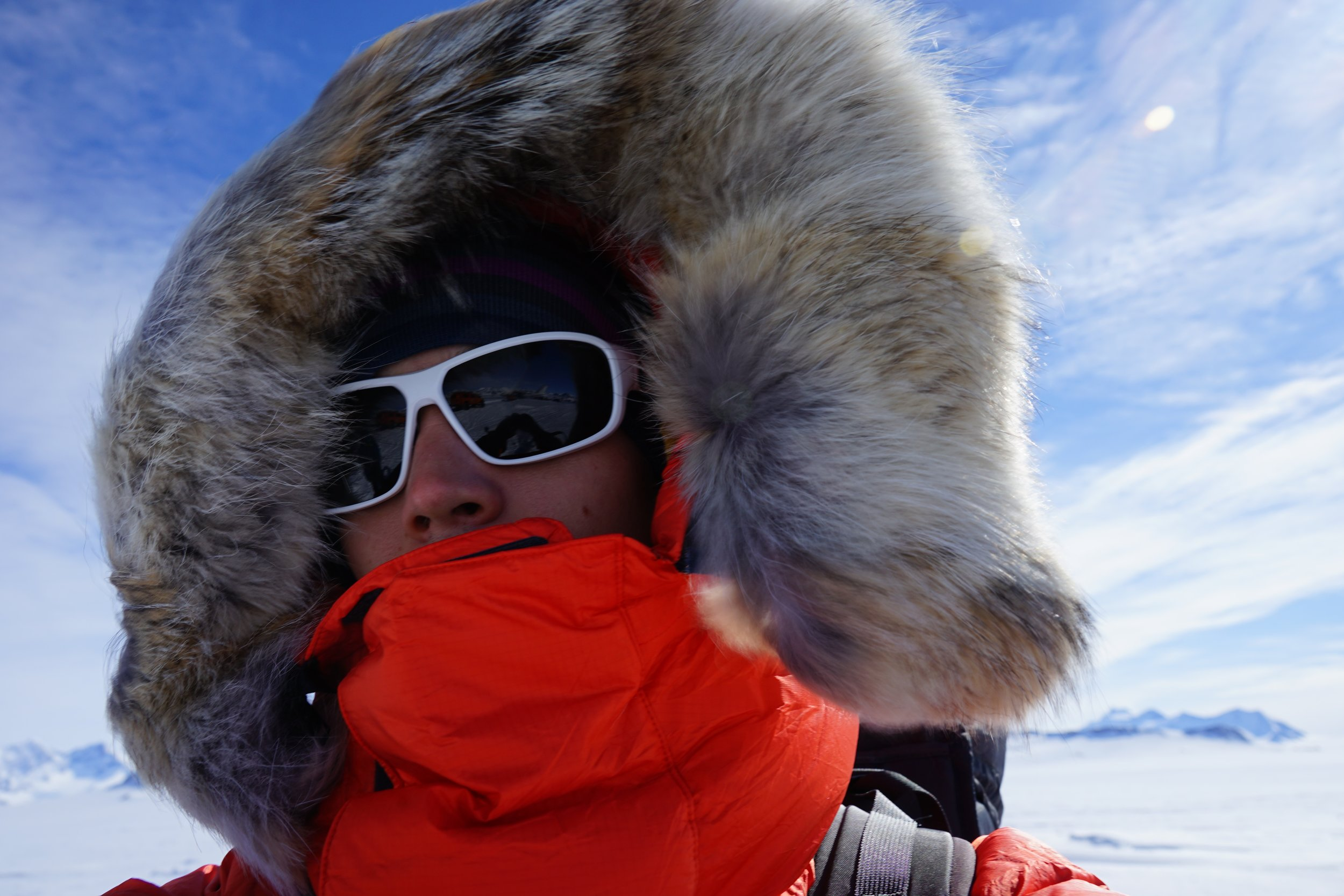 Bundled up Antartica style. Ready to depart for the South Pole in frigid temperatures.