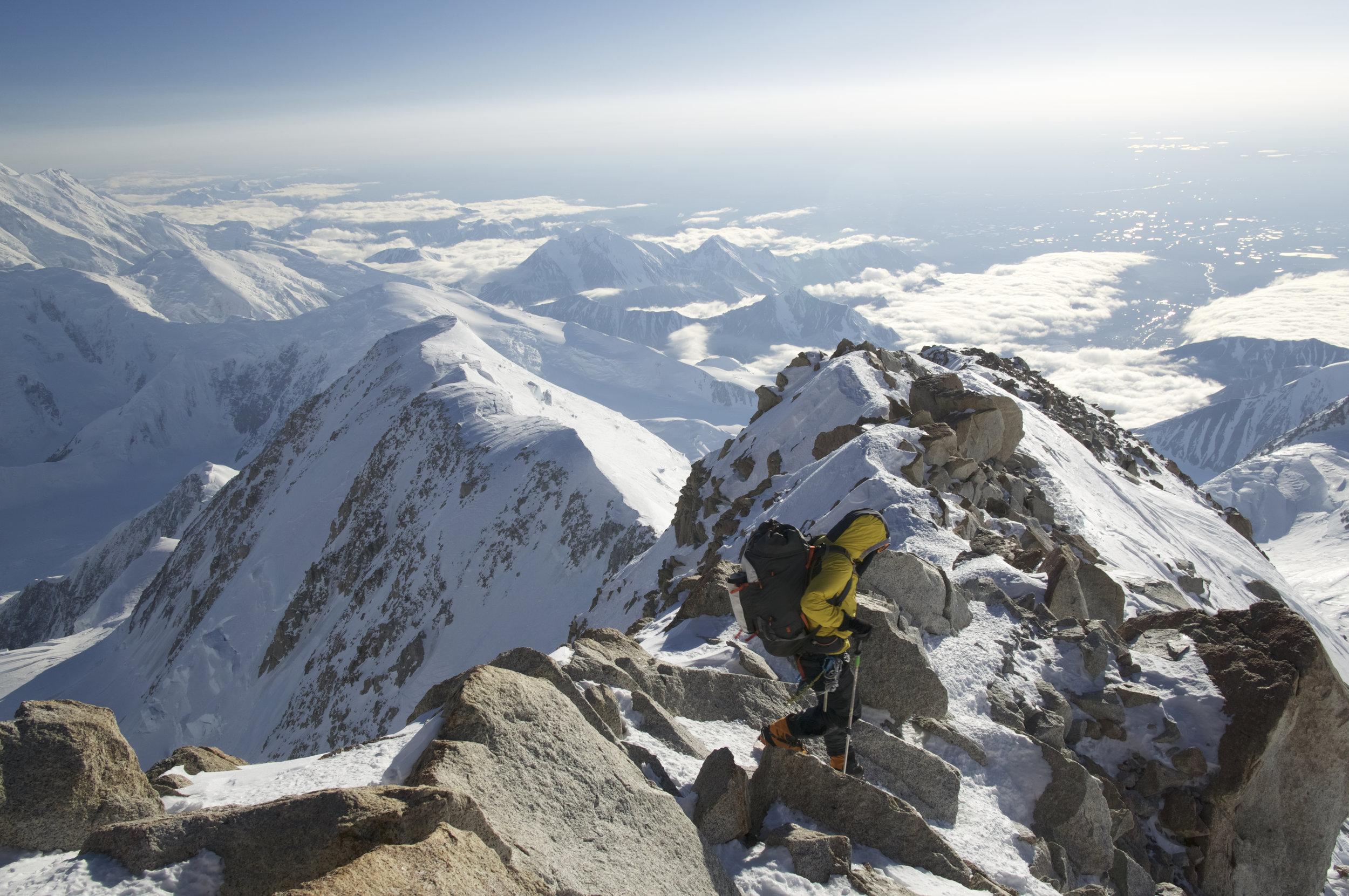 Descending Denali safely despite severe fatigue after 139 days of climbing.