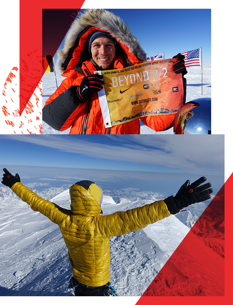 Two World Records Are Broken - On May 27, 2016 the world record project came to a victorious end. Colin conquered The Explorers Grand Slam in a world record shattering 139 days. Colin summited the tallest peak on each of the seven continents including Mt. Everest and skied the last degree to the North and South Poles. Fewer than 50 people have ever completed this staggering achievement, and only four in under a year. With grit and perseverance, Colin became the fastest person to complete the mountaineering challenge, and in the process also broke the speed record for The Seven Summits in 132 days.