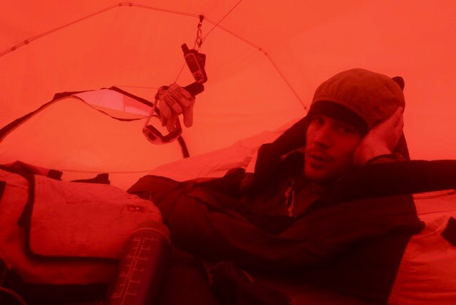 Day 12:  Stuck in my tent. Storm is brewing.