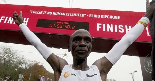 """I BELIEVE NO HUMAN IS LIMITED"" - Sub 2-Hour marathon 🤯🤯 - Without a doubt one of the greatest athletic achievements in history (4:33.5 minutes per mile for 26.2 miles). @kipchogeeliud Thank you for reminding us all today that anything is possible. #BePossible"