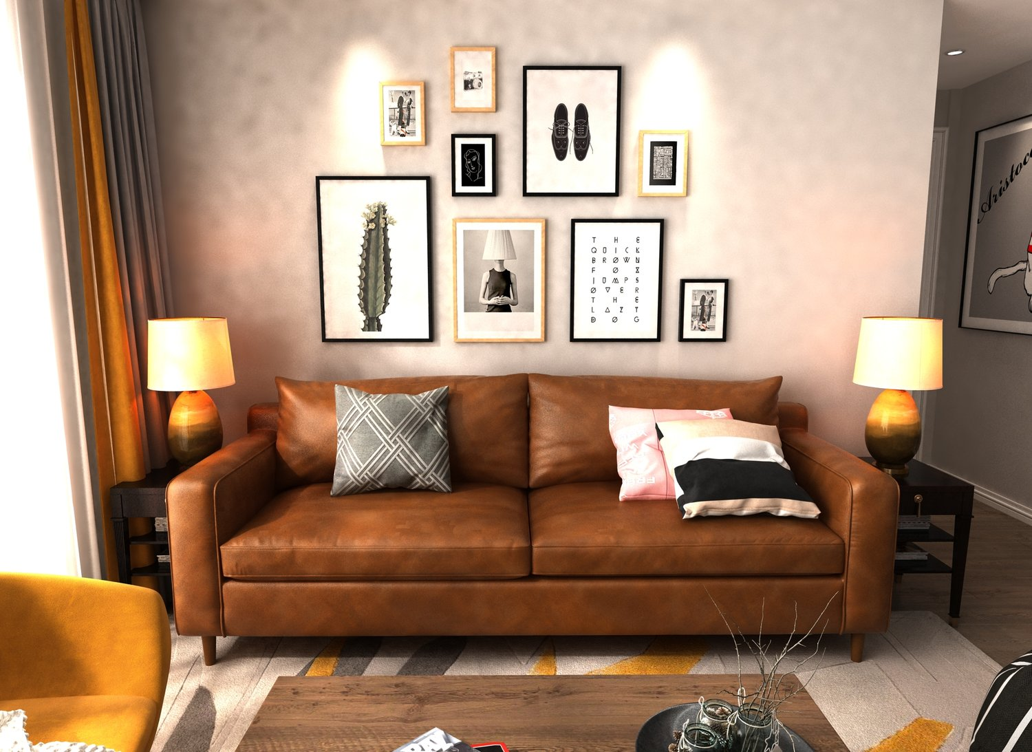 Queenshome Modern Light Brown, Leather Living Room