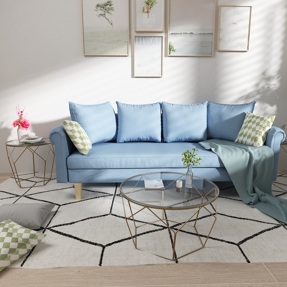 Queenshome Modernes Linen Fauteuil Furnitures House Canape Convertible Double Couch Living Room Blue Fabric Sofas Queens Home