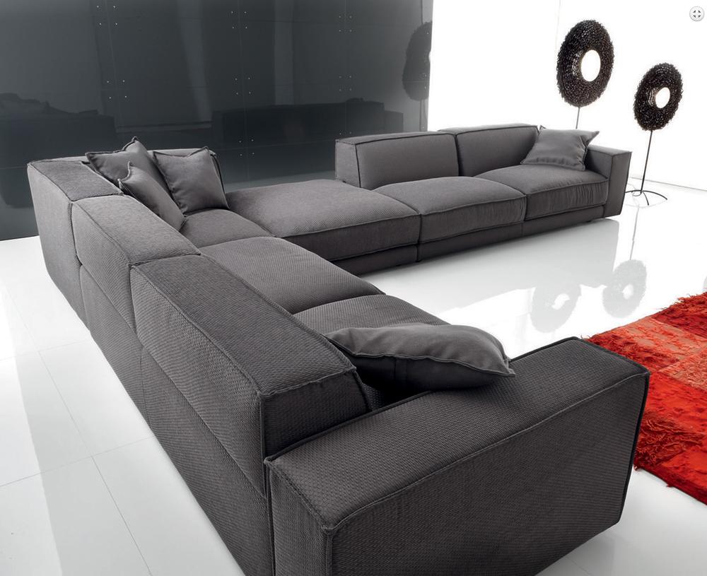 Queenshome Design modern furniture black european style wooden living room  fabric classic corner sofa set — QUEENS HOME