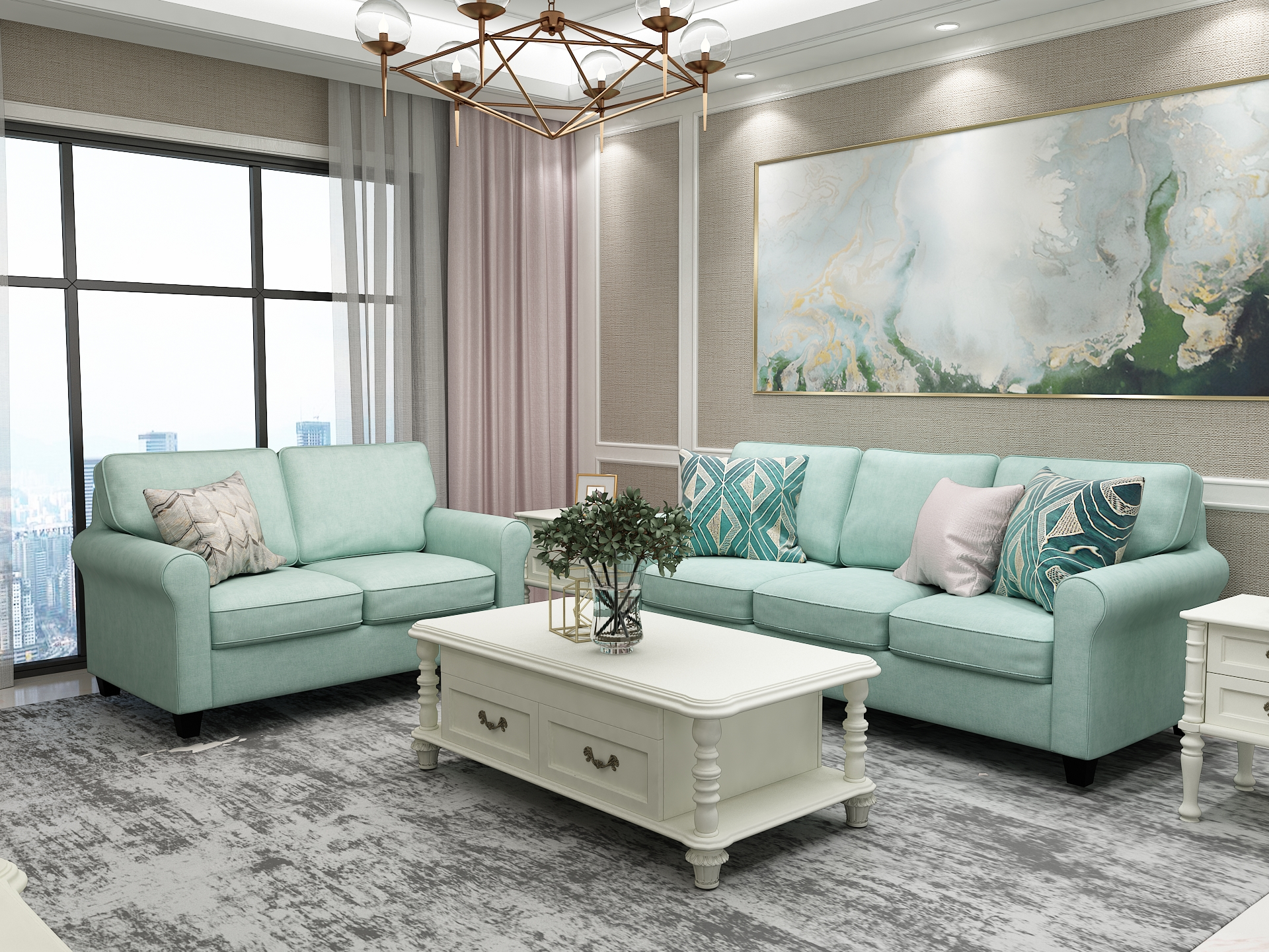 Queenshome Modern Wooden Sofa Cama Design Living Room Funeral Furniture Fabric 3 Seat Seater Recliner Seats Turquoise Sofa Set Queens Home