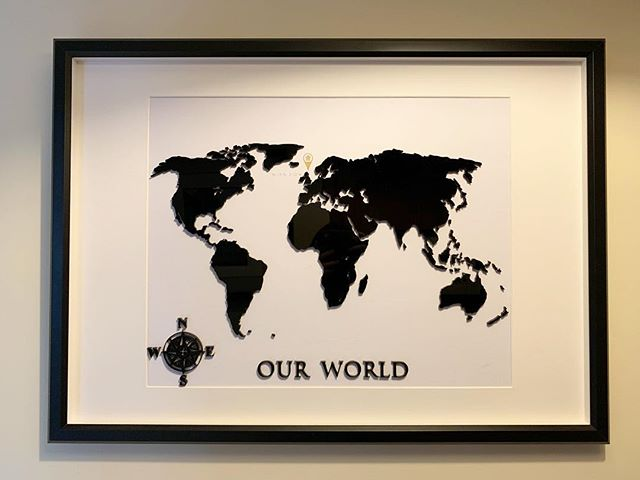 Our World • Laser cut in black acrylic. Perfect addition to a feature wall or hall decor. Mark a special location with a choice of markers & coordinates. . www.blackrosedesignsuk.com - Facebook - Instagram . #traditionaldesign #originaldesign #creativelife #smallbusiness #wooddesign #locallymade #uniquegifts #interiordecoration #laseretched #customdesigns #laserengraved #woodworker #craftsman #madeinscotland #woodcraft #maps #vintageart #world #worldmap #mapart #modernart #madeinscotland #woodcraft #custom #wood #creative #creativethinking #woodporn #acrylic #justacard #marketing #advertising