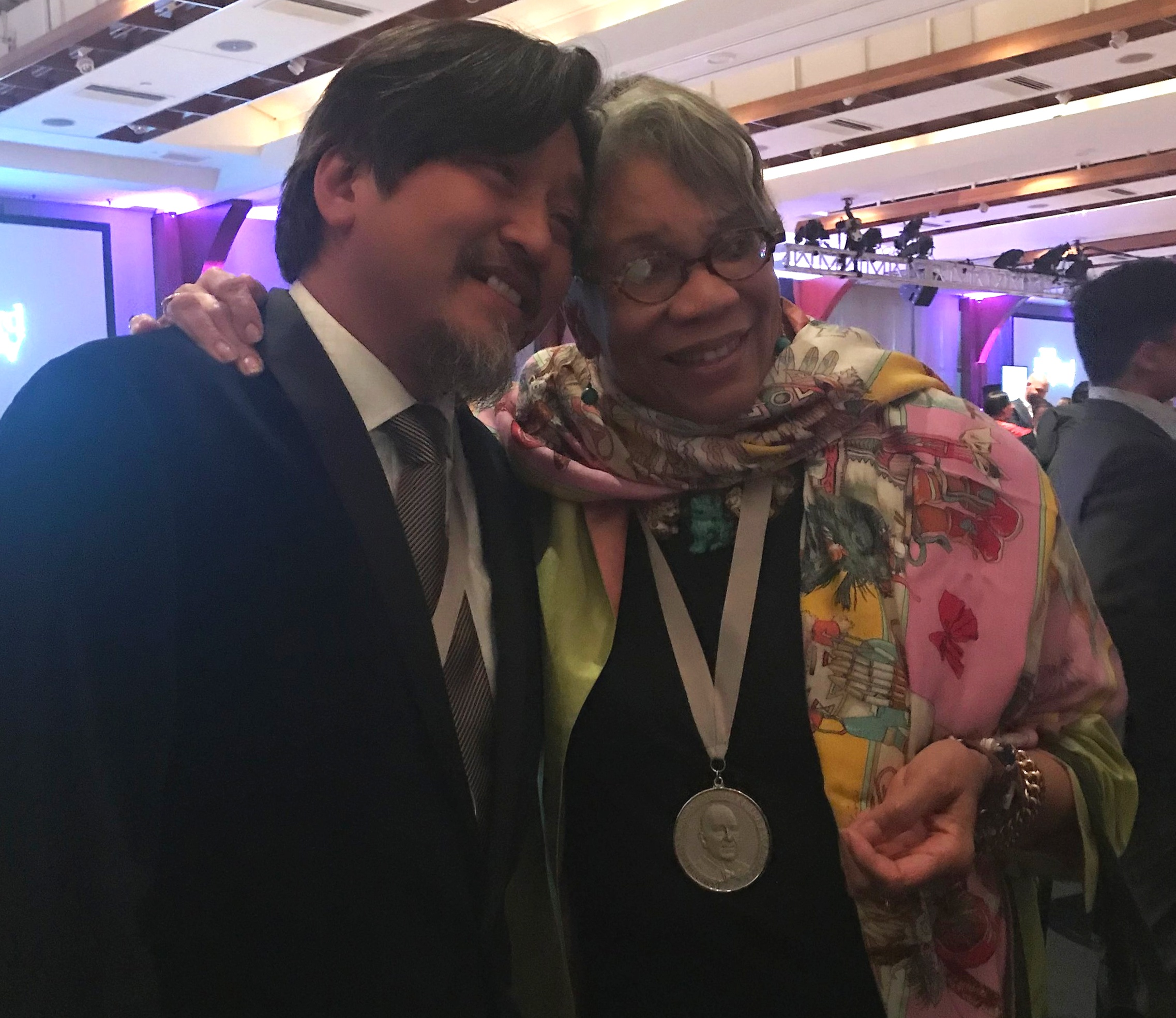 Winner for Best Writing, Chef Edward Lee, with Cookbook Hall of Fame inductee, Jessica B. Harris.