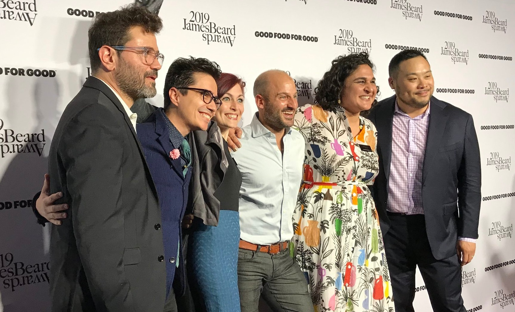 "The producers of The Migrant Kitchen with Samin Nosrat of Salt Fat Acid Heat and David Chang of Ugly Delicious, nominees in the category of ""Best Television Program, on Location"""