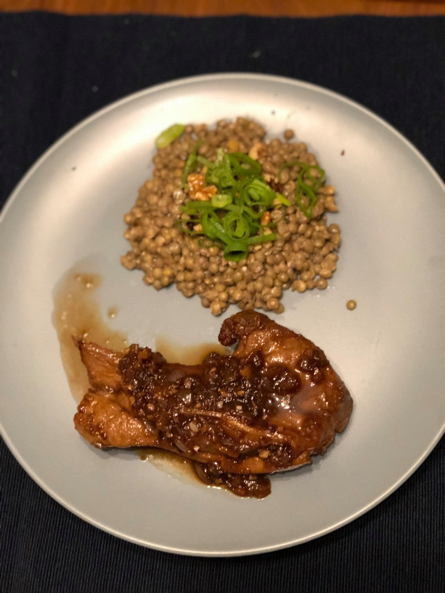 Lentil and Walnut Salad and Asian Lamb Chops