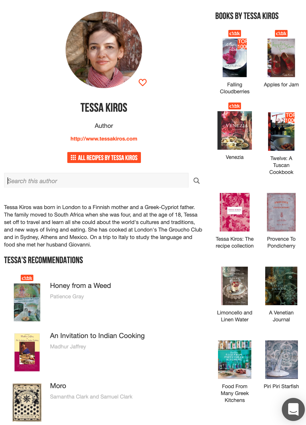 Tessa Kiros' author page with titles she's authored and books she recommends