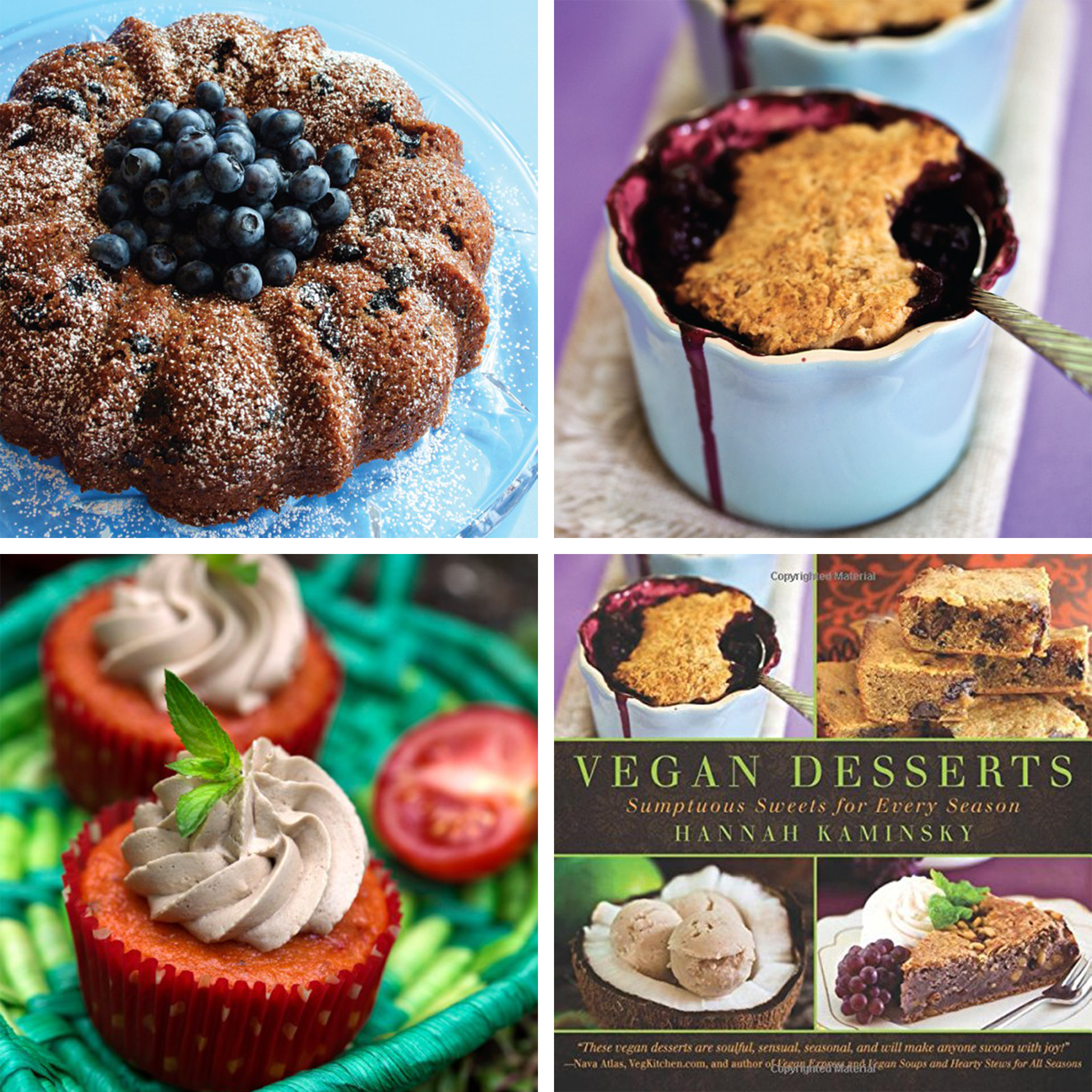 True Blue Bundt Cake ,  Tomato Cakes with Balsamic Frosting , and  Cherry-Berry Peanut Butter Cobbler  from  Vegan Desserts