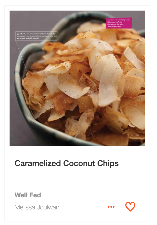 Caramelized Coconut Chips recipe from Well Fed on ckbk