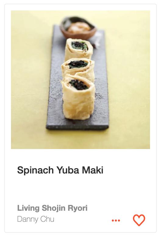 Spinach Yuba Maki from  Living Shojin Ryori