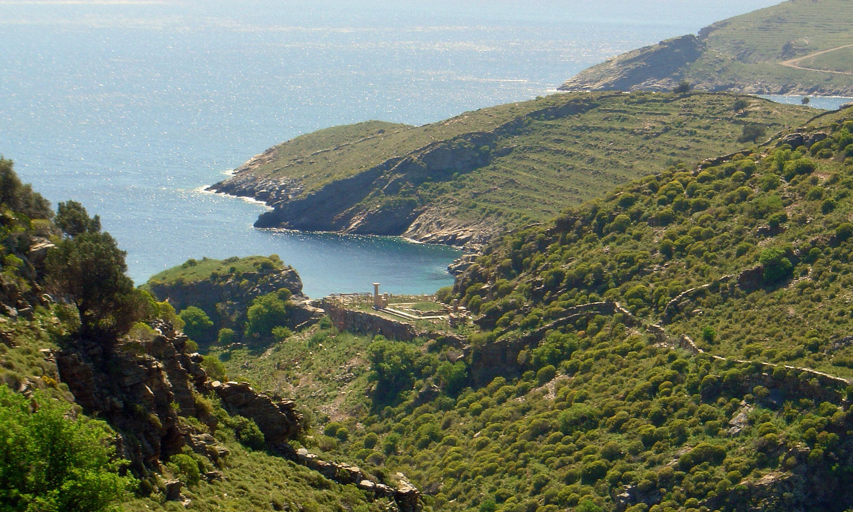 The ancient city of Karthea on the island of Kea, seen from afar.  Photograph: Aglaia Kremezi