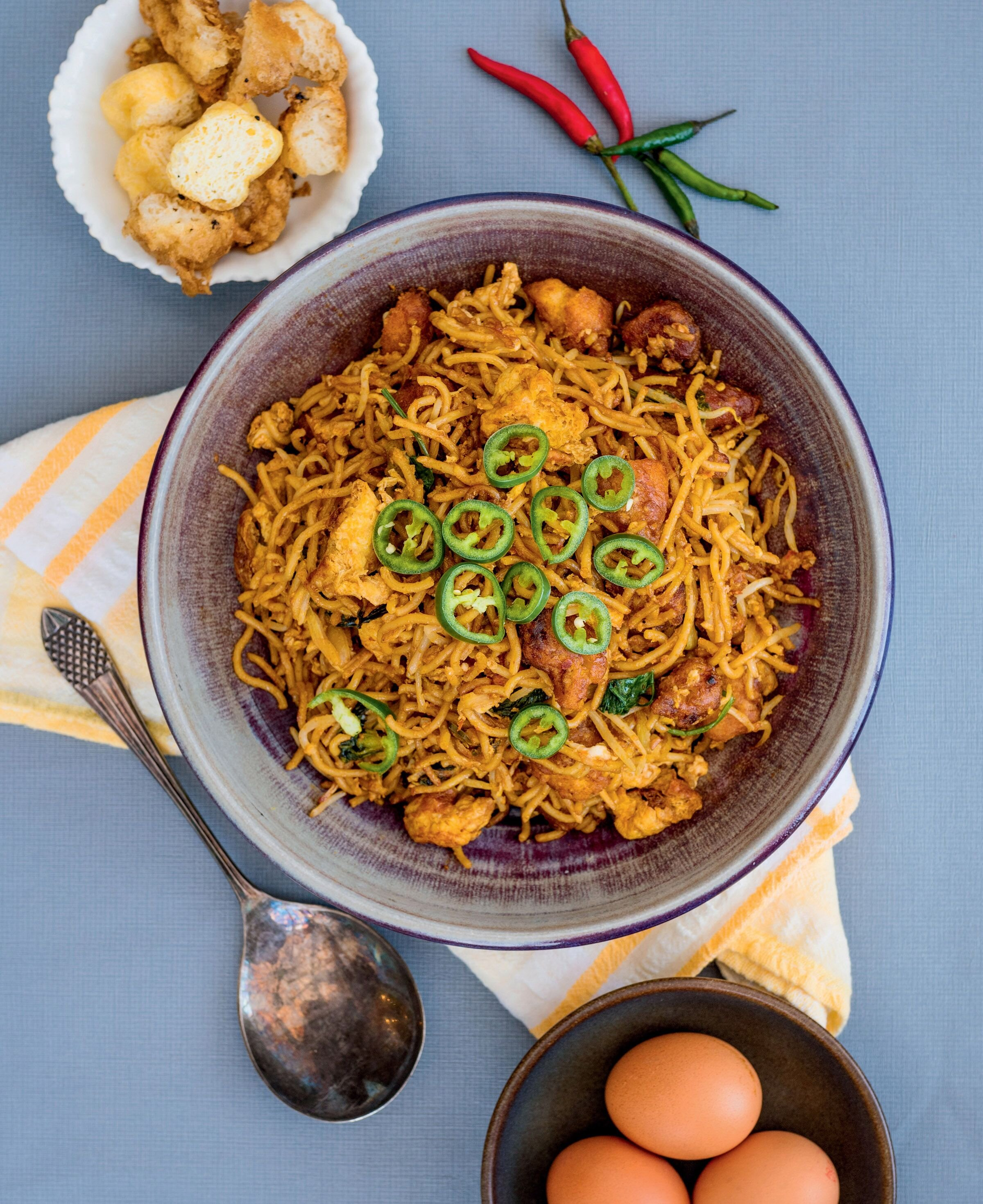 Zaleha Olpin's recipe for Mee Goreng Mamak is ideal with a cup of sweet milky tea.