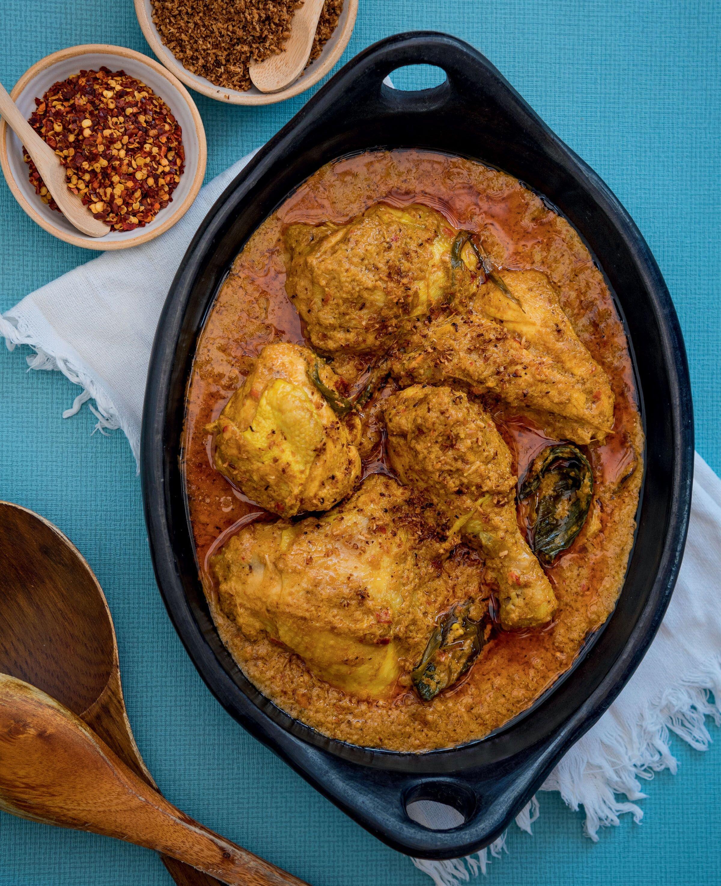 Zaleha's special 'Non-Crispy' Chicken Rendang, as cooking on MasterChef