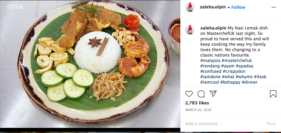 Zaleha's Instagram post after she was eliminated from the MasterChef UK competition.