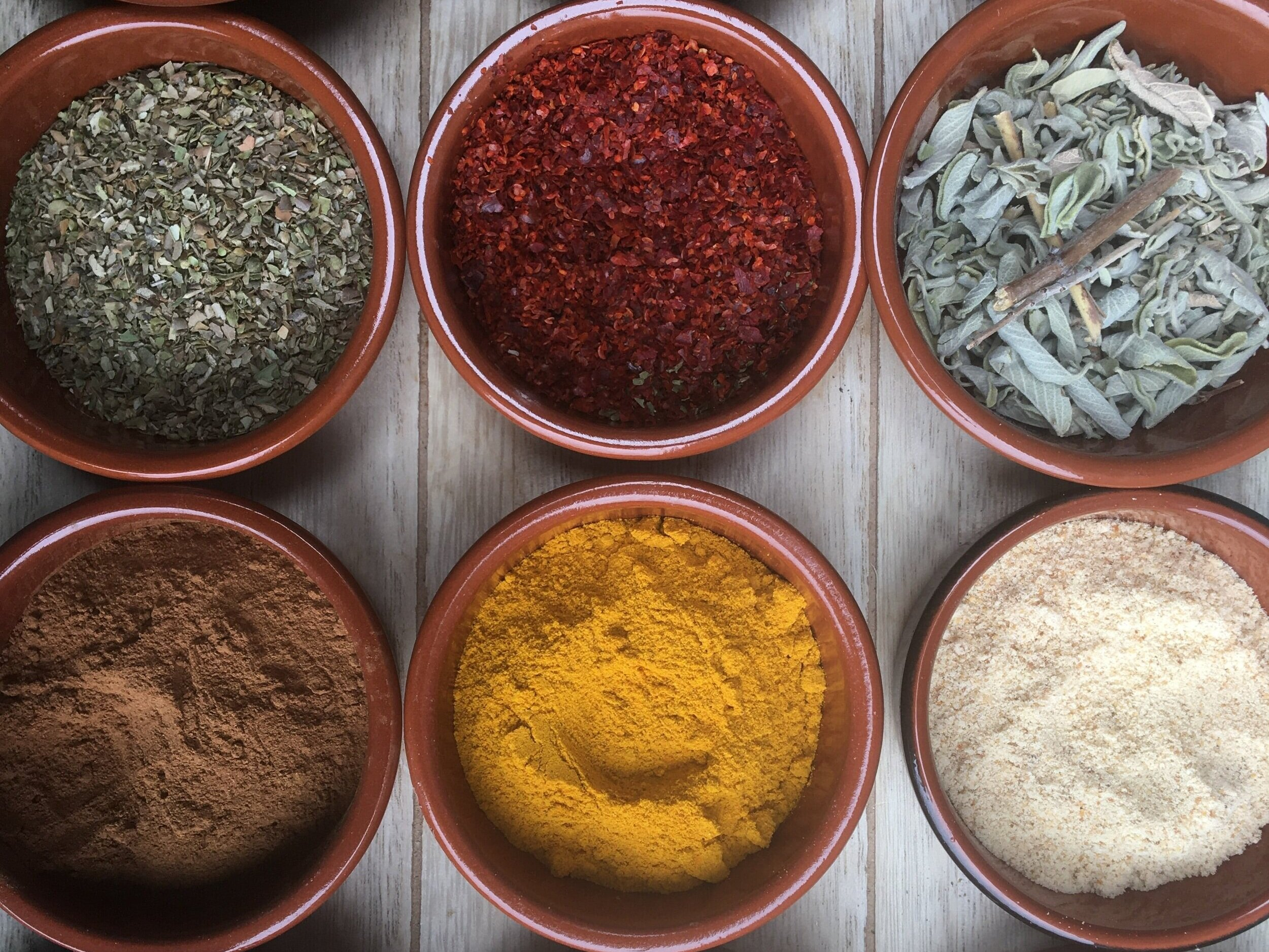 colorful spices in bowls