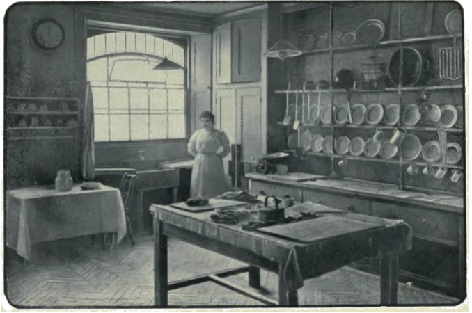 The typical kitchen of a grand house of the 19th century.