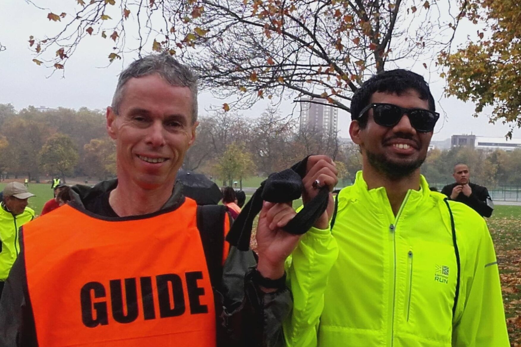Naqi with Alun, another of his regular guides at Finsbury Parkrun