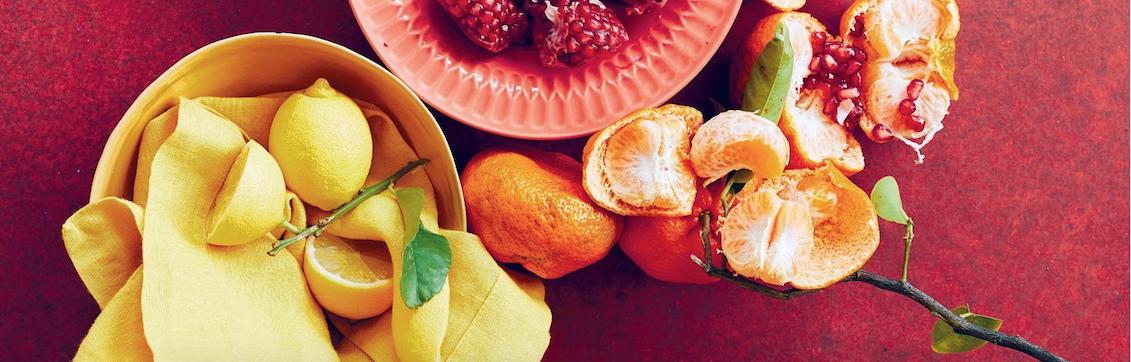 Still life of citrus and pomegranate