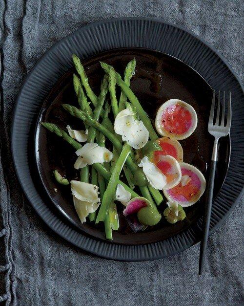 Shaved asparagus and radish salad
