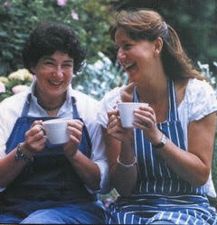 Joanne (left) and Fran share a laugh over a cup of tea.