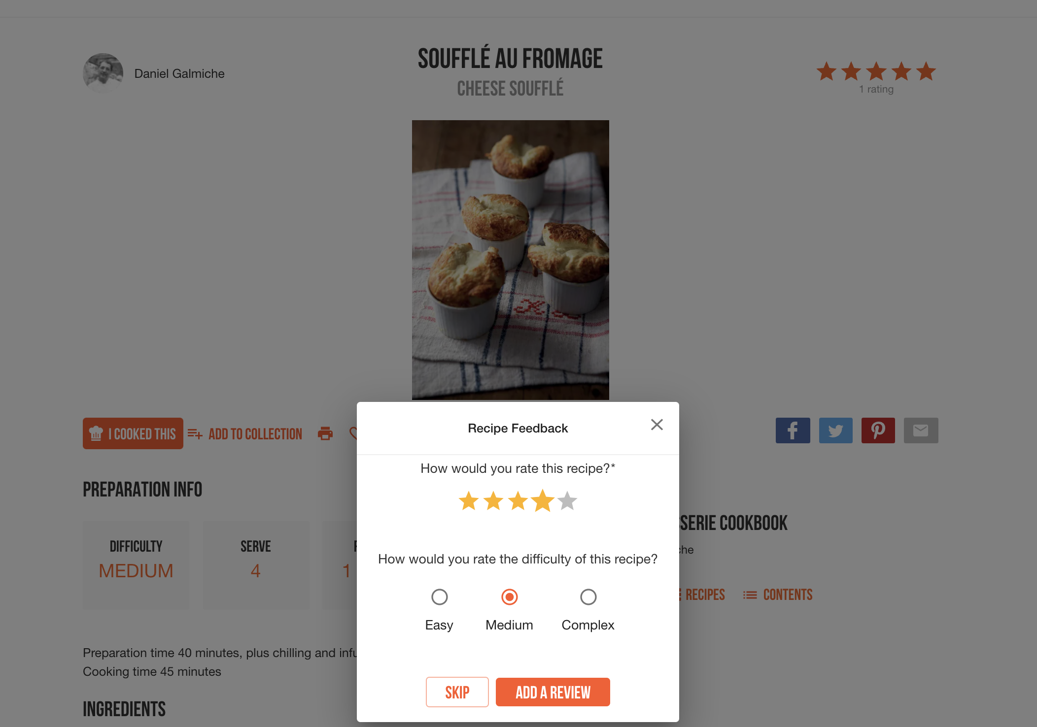 NEW: Ratings, reviews and private notes — make ckbk your culinary notebook!