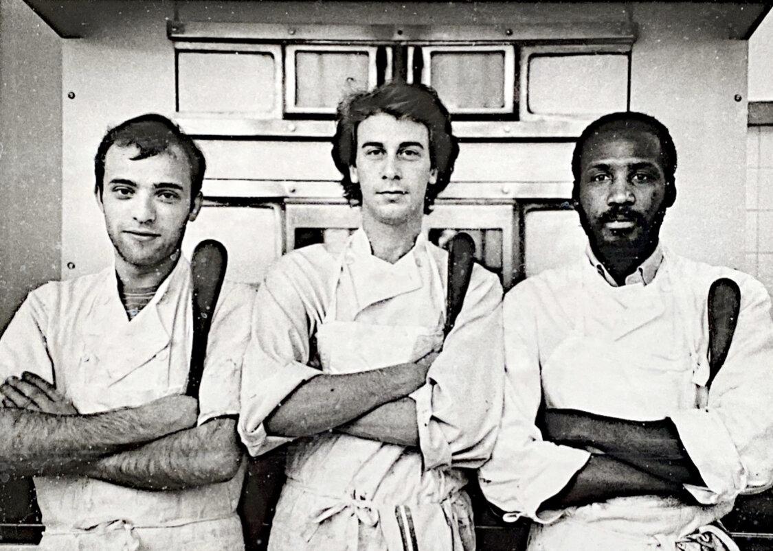 Maury Rubin (center) as a stagière at Rousseau-Seurre Pâtisserie, Paris, 1986.