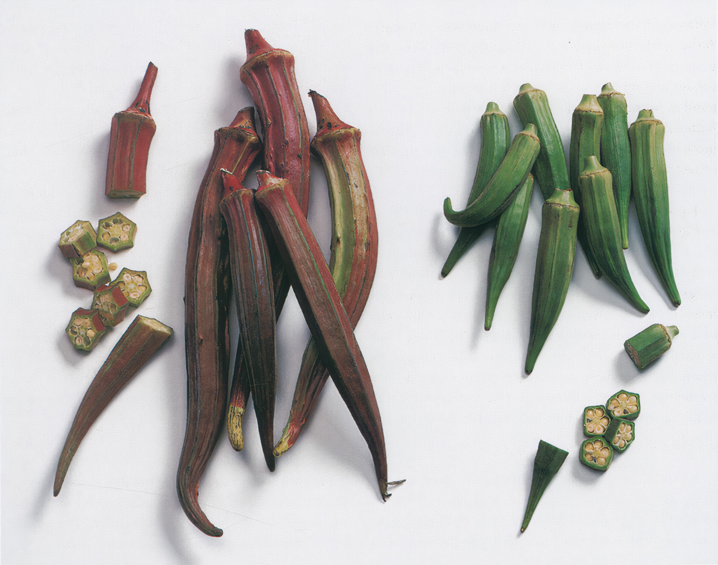 """""""Succulent and mellow, with subtle suggestions of eggplant, artichoke, and asparagus"""" – Elizabeth Schneider describes okra. Photo: Amos Chan"""