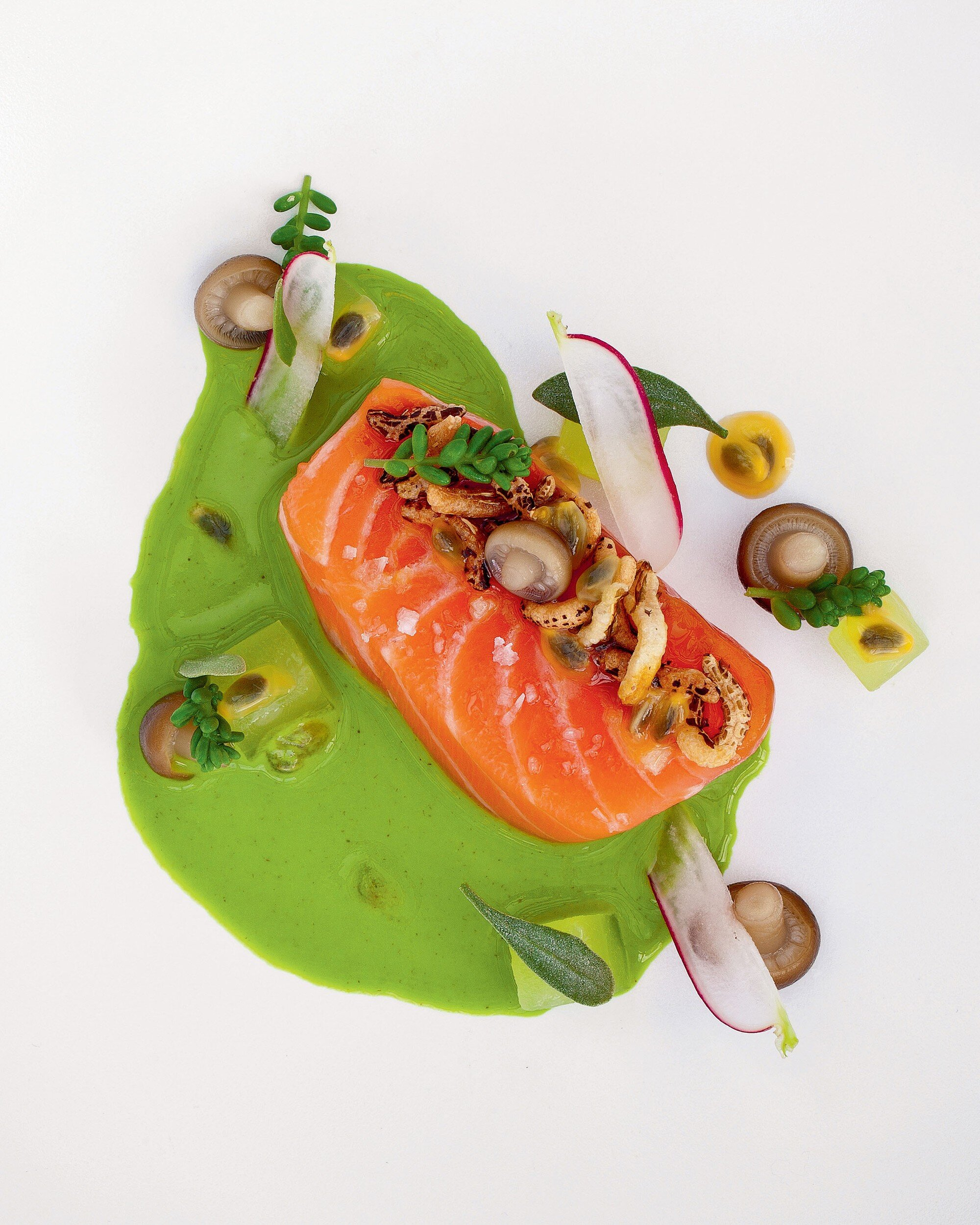 Sat Bains' Loch Duart Salmon with Pickled Vegetables, Oyster and Miso. Photograph: John Arandhara Blackwell