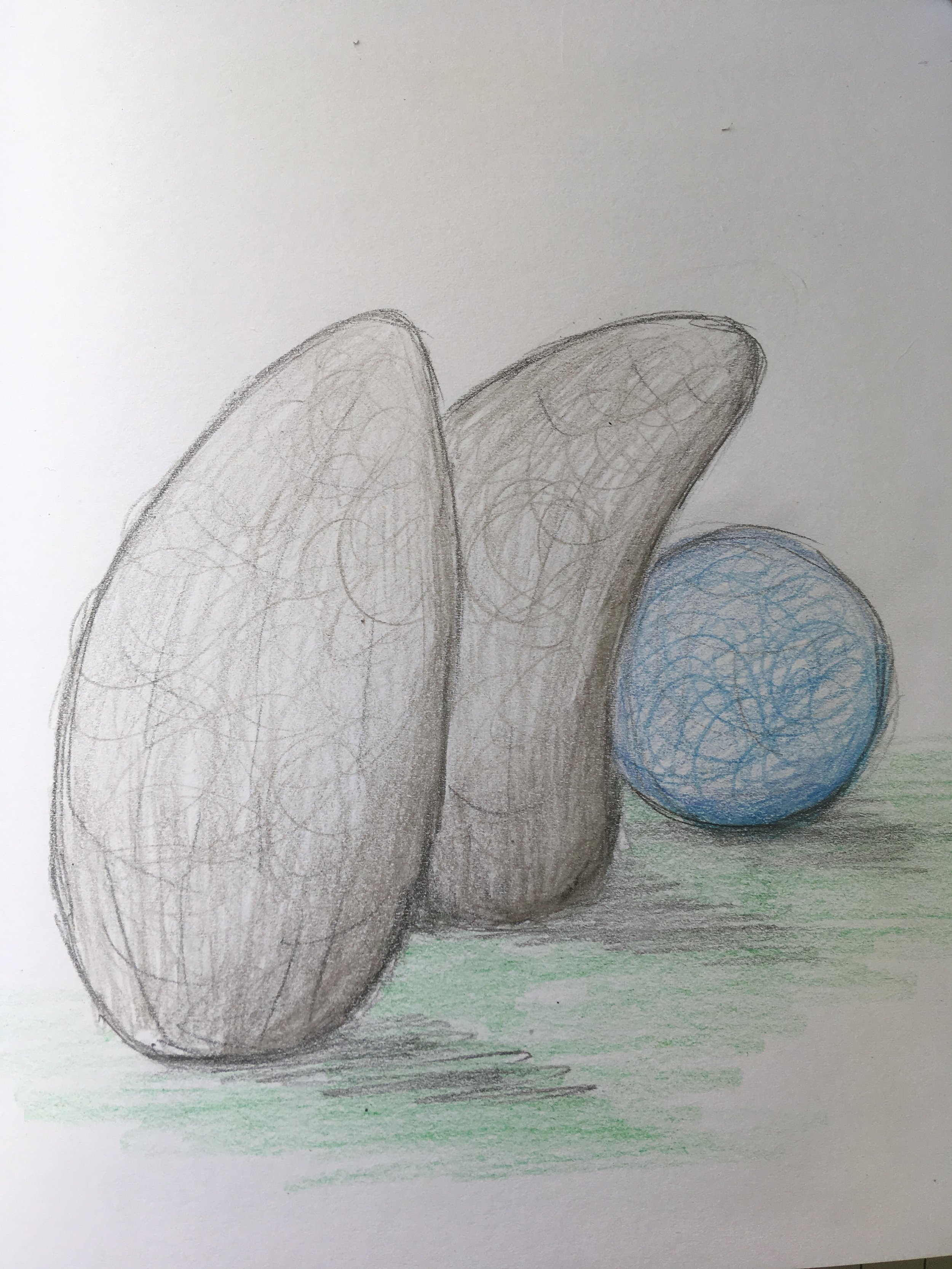 Development Sketch - Grouping of three figures in the landscape, just one of the ideas for the sculpture.