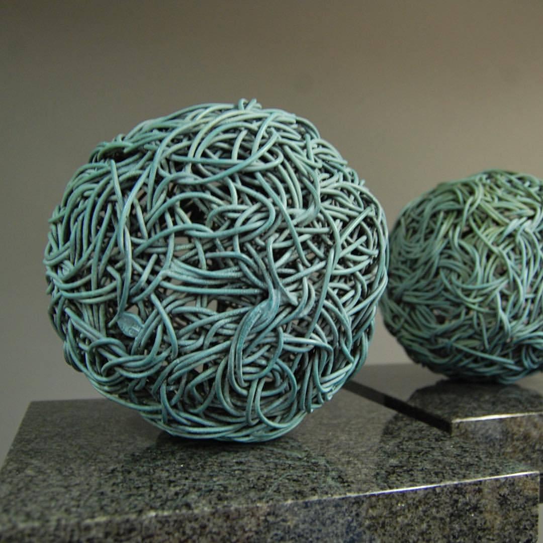 Twin Bronze Spheres Sculptures on their way to an exhibition #bronze #sculpture #gardengallery