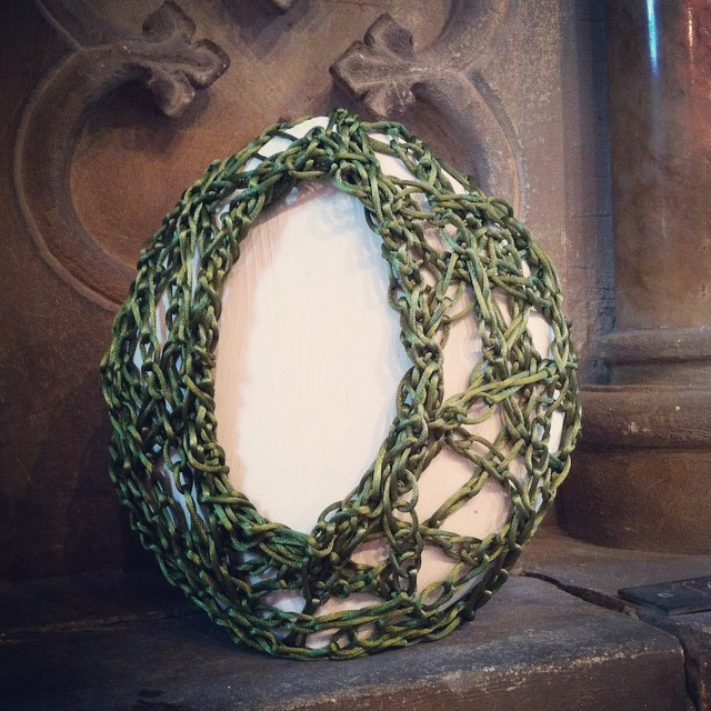 Woven Experiment No.55 - Carved Plaster form bound with crochet chain stitch in green 3mm thread