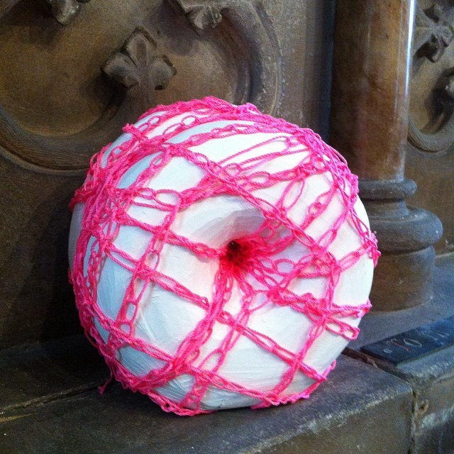 Woven Experiment No.54 - Carved Plaster form bound with crochet chain stitch in pink 2mm thread