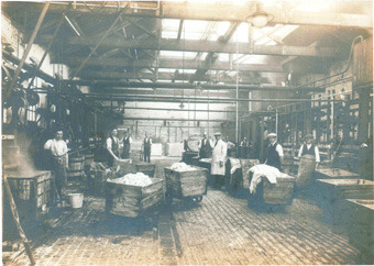 Image showing inside the 'Theta' dye works at Heanor in the 1900's