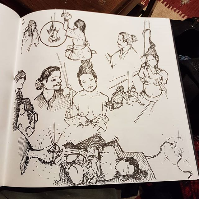 Did some really fun lifedrawing tonight at @reconfigure_lifedrawing. @ronin_raccoon and @xian.art performing rope work on the scaff. Felt like the sequences had narrative.. so i drew them that way..