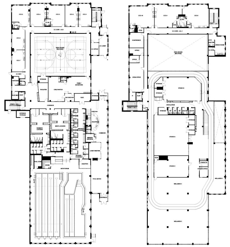First floor (left), second floor (right).