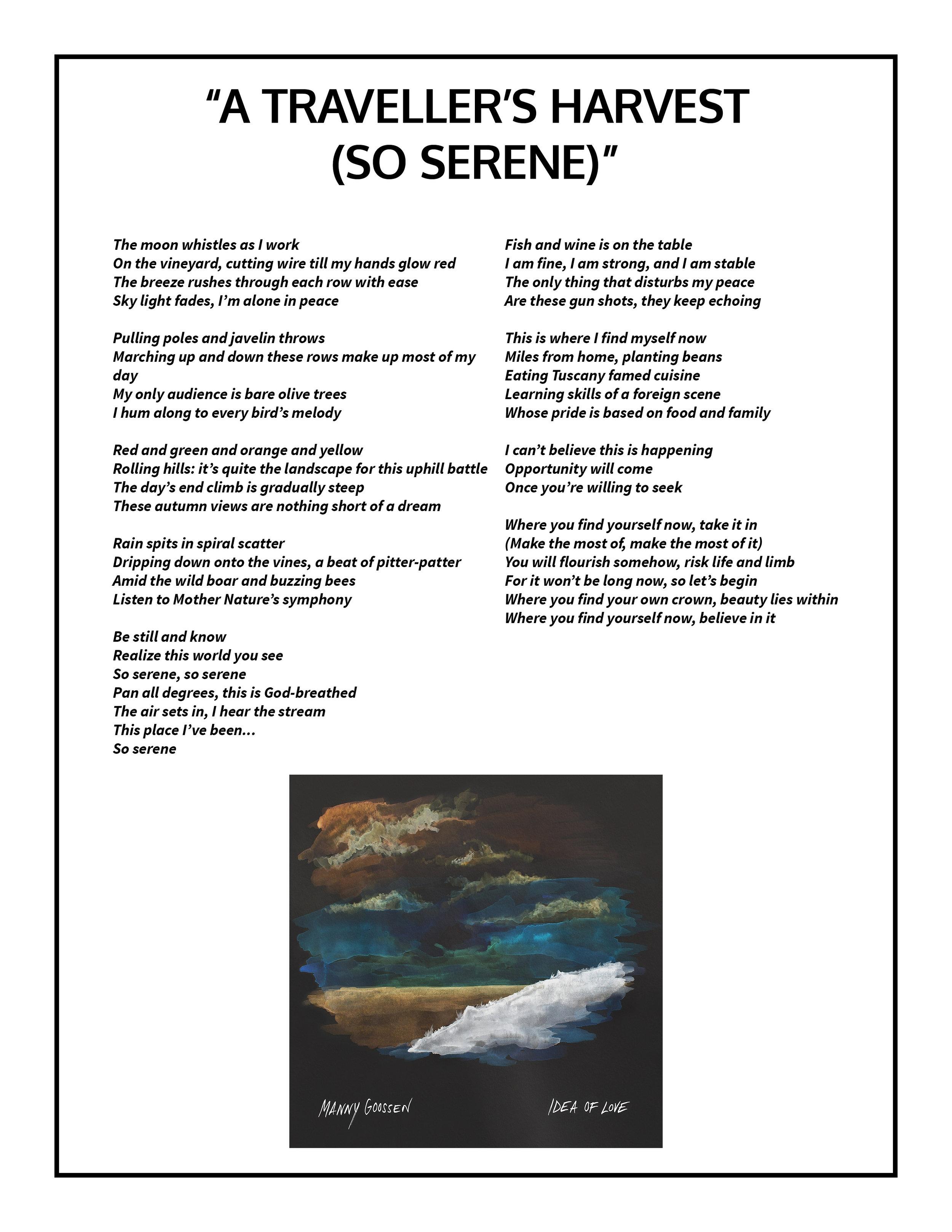 A Traveller's Harvest (So Serene) Lyrics