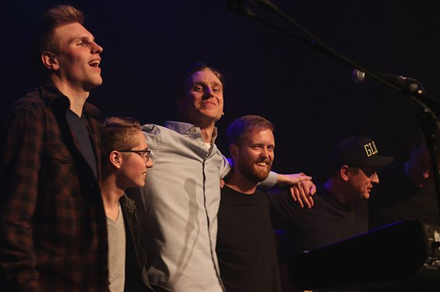 """Here are a bunch of my favourites from Monday's release show. I'm honoured I got to share the stage with these talented friends of mine, and I want to say thanks again to them for the time they put into making my EP-release show happen! 1. Us takin' a bow. pc: @edenlcarter  2. My brother & show wingman @william_goose, who rocked harmonies and shook a shaker like no other could. pc: Eden 3. The cool & collected @camfriesen, who kept us rock-steady, helped direct the madness, and provided the unreal lighting (@eventlight)! pc: Eden 4. The ever-glorious @glenhampton, who brushed his Telecaster flair onto everything and conjured up """"swells"""" as per my imagination. pc: @aidanclophoto  5. Our most serene @je_hayes, who slapped da bass with grace and was the source of full emanating warmth. pc: Aidan 6. The specialist @burttrenton, who was a synth puppeteer and majestically mastered his Minilogue. pc: Aidan 7. The groovy @sguezen & @bartleyknives, whose brotherly tandem charmed the early crowd. pc: Eden 8. A wide shot by the talented light mage known as @mstermin/@minkimphoto . Lastly, thanks to all the photographers and volunteers who came out & to @bnbstudioswpg who shot and are working on a special live music video! Stay tuned."""