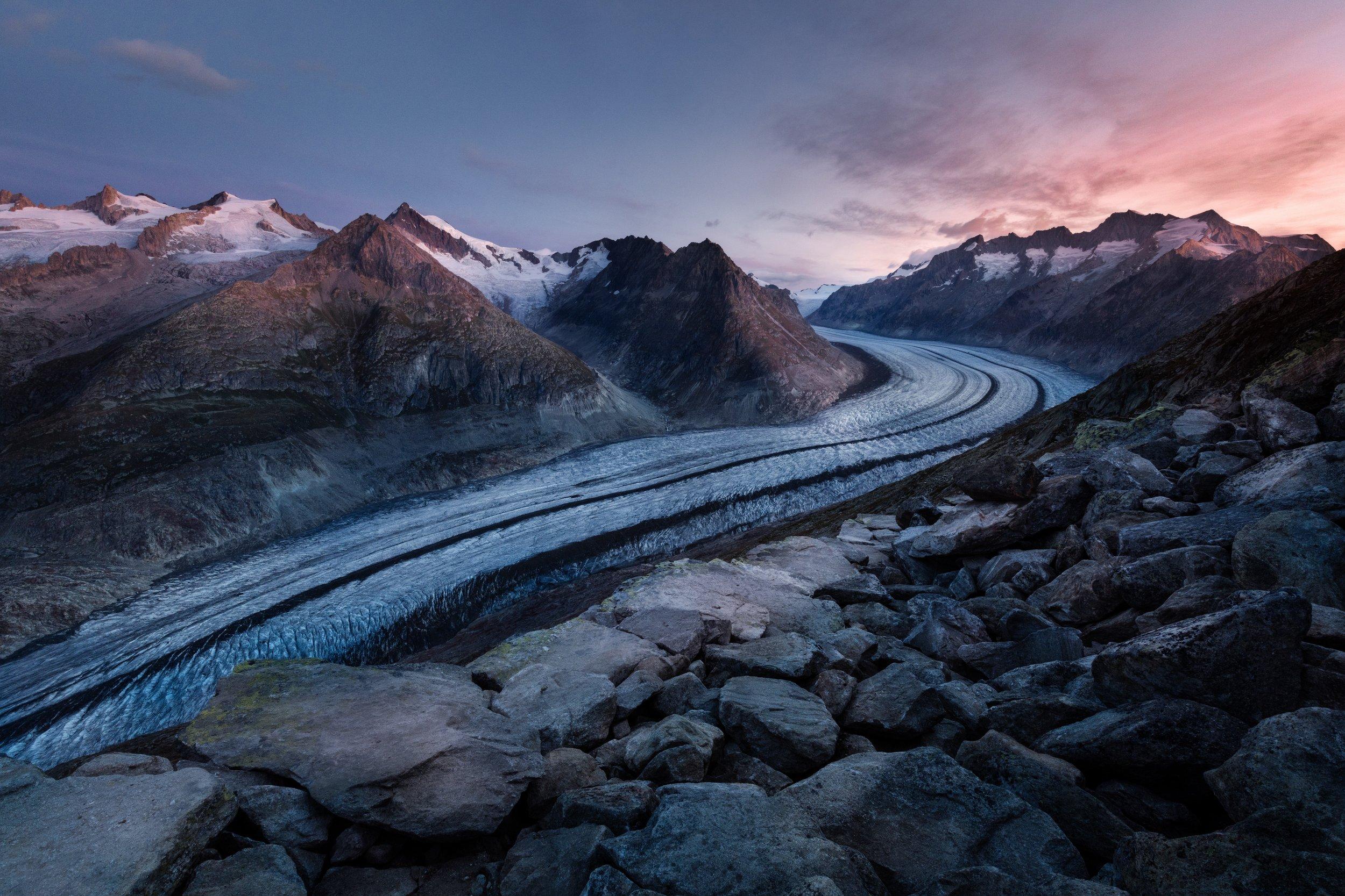 Aletschgletscher Glacier, Bettmeralp, Switzerland  ~ Photo by  Samuel Ferrara  on  Unsplash