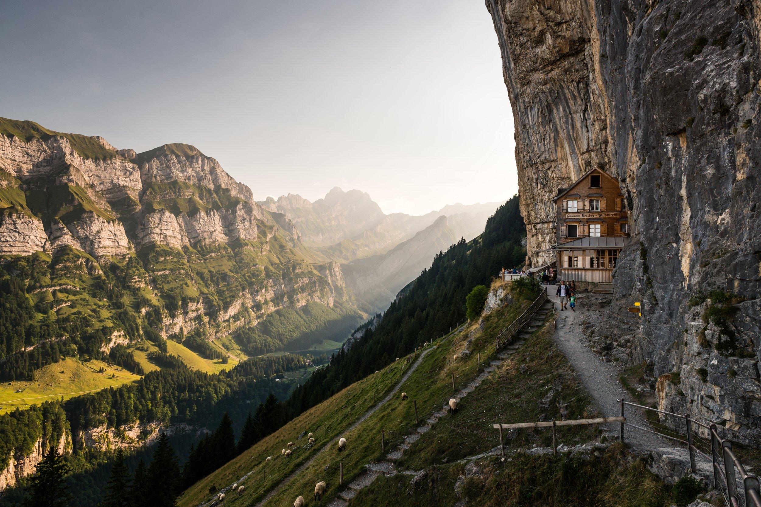 Berggasthaus Aescher-Wildkirchli, Weissbad, Switzerland  ~   Photo by  Christian Regg  on  Unsplash