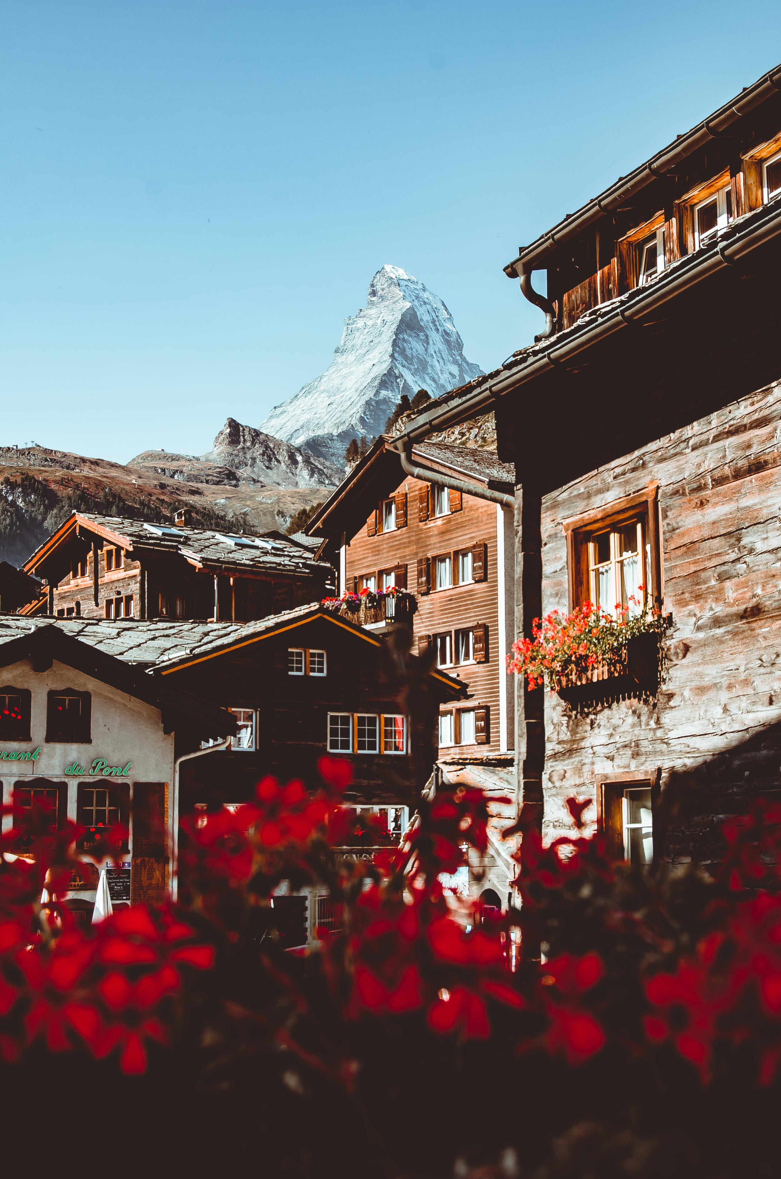 The Matterhorn overlooks the beautiful village of Zermatt below.