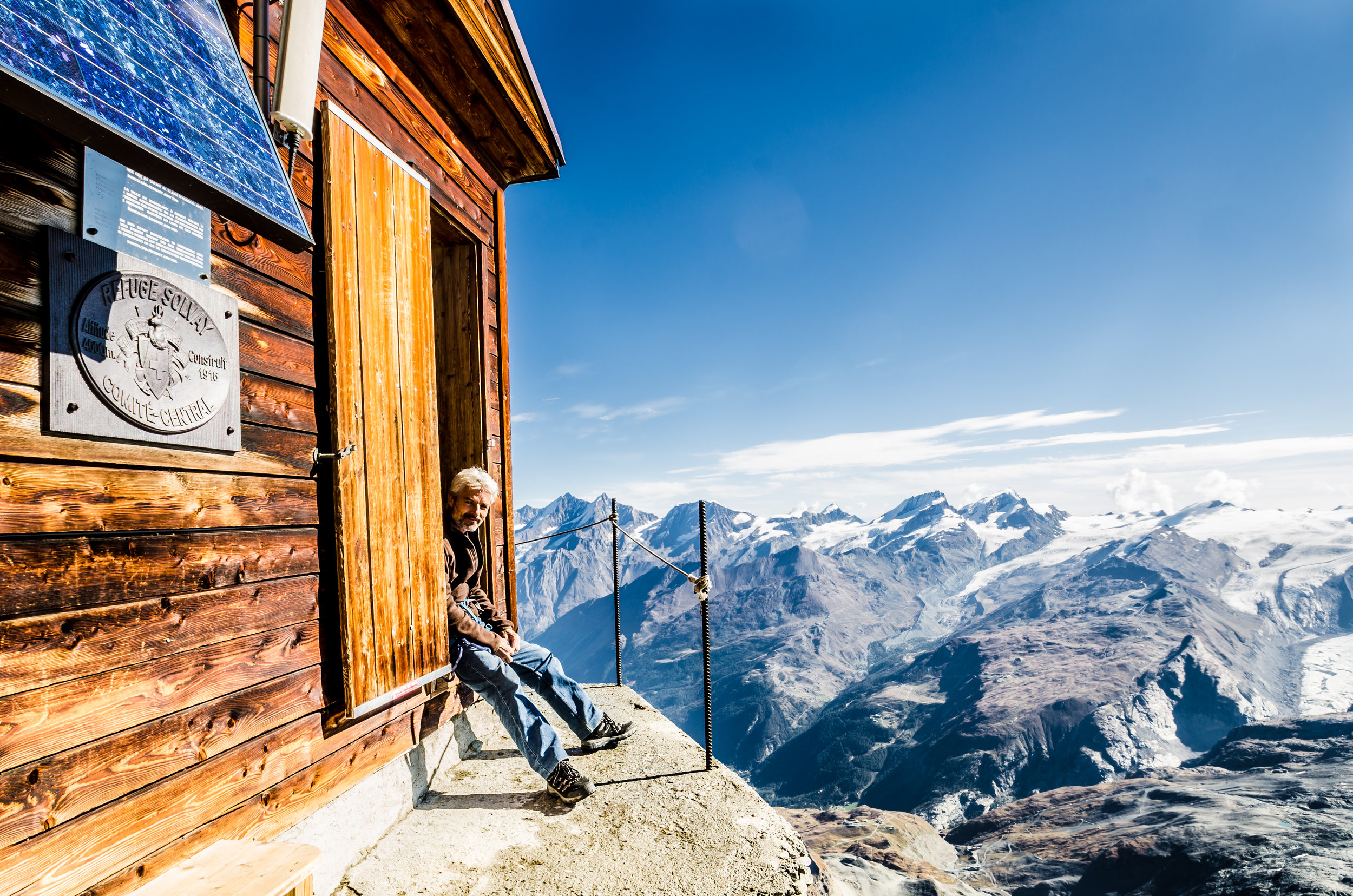 The Solvay Hut was the highest we got, standing on the edge of the mountain at 4000 metres.