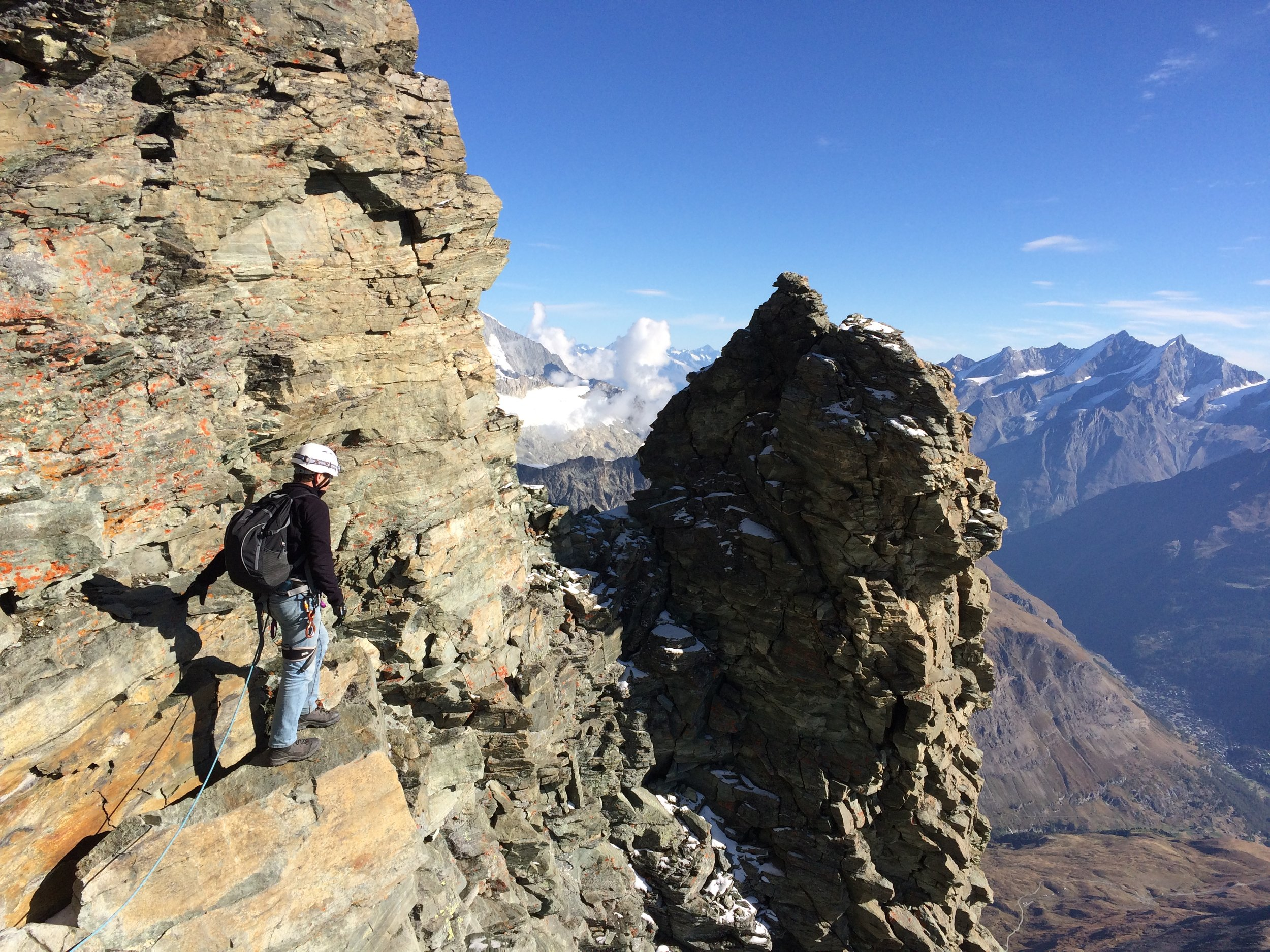 Commencing the descent from the Solvay hut. Hard to believe, but the way down is often just as hard as the way up!
