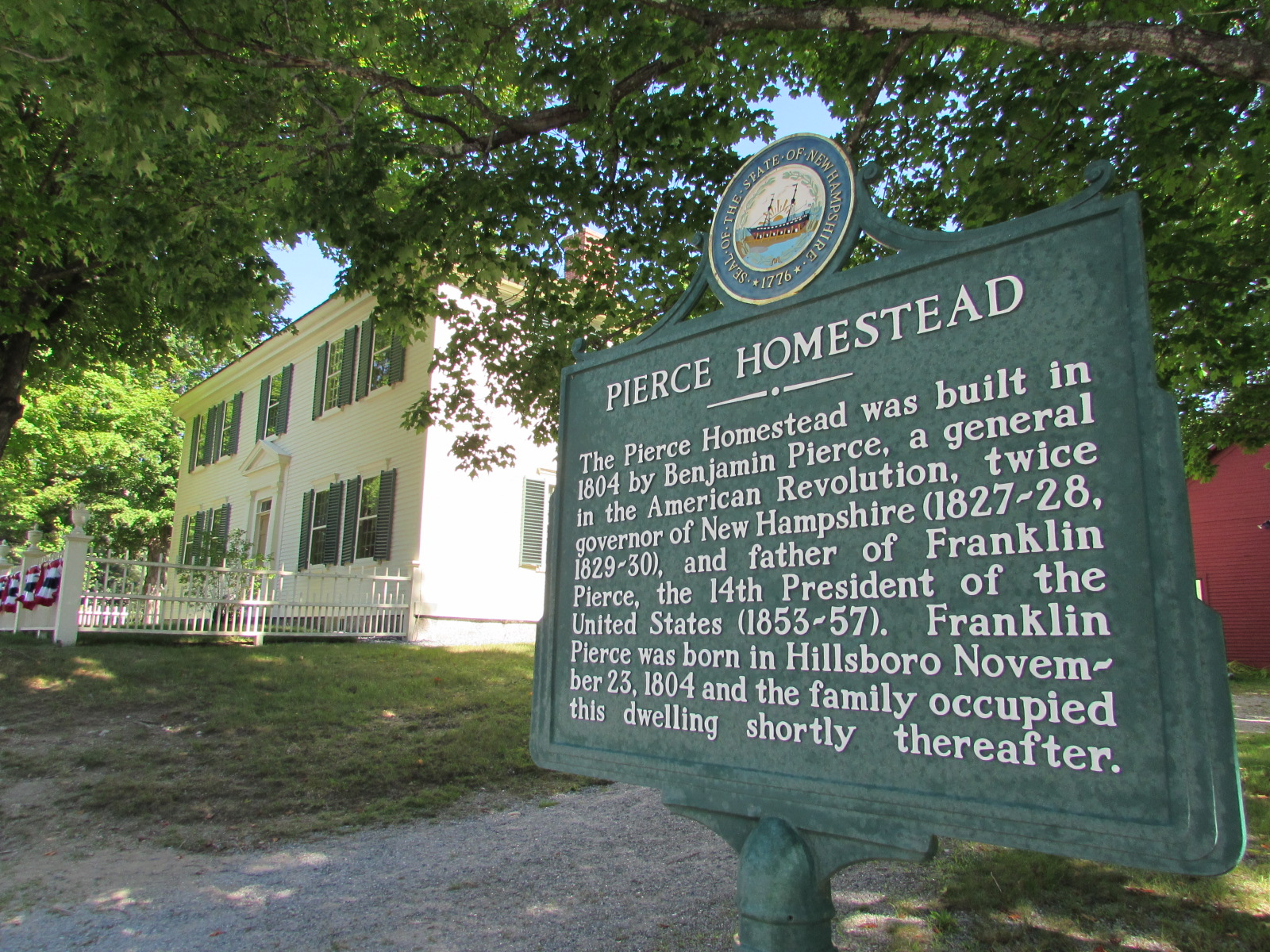 Today the  Pierce Homestead  still keeps watch over the old 2nd New Hampshire Turnpike, surrounded by open fields and forests. The spot is not unlike the world that formed young Franklin.