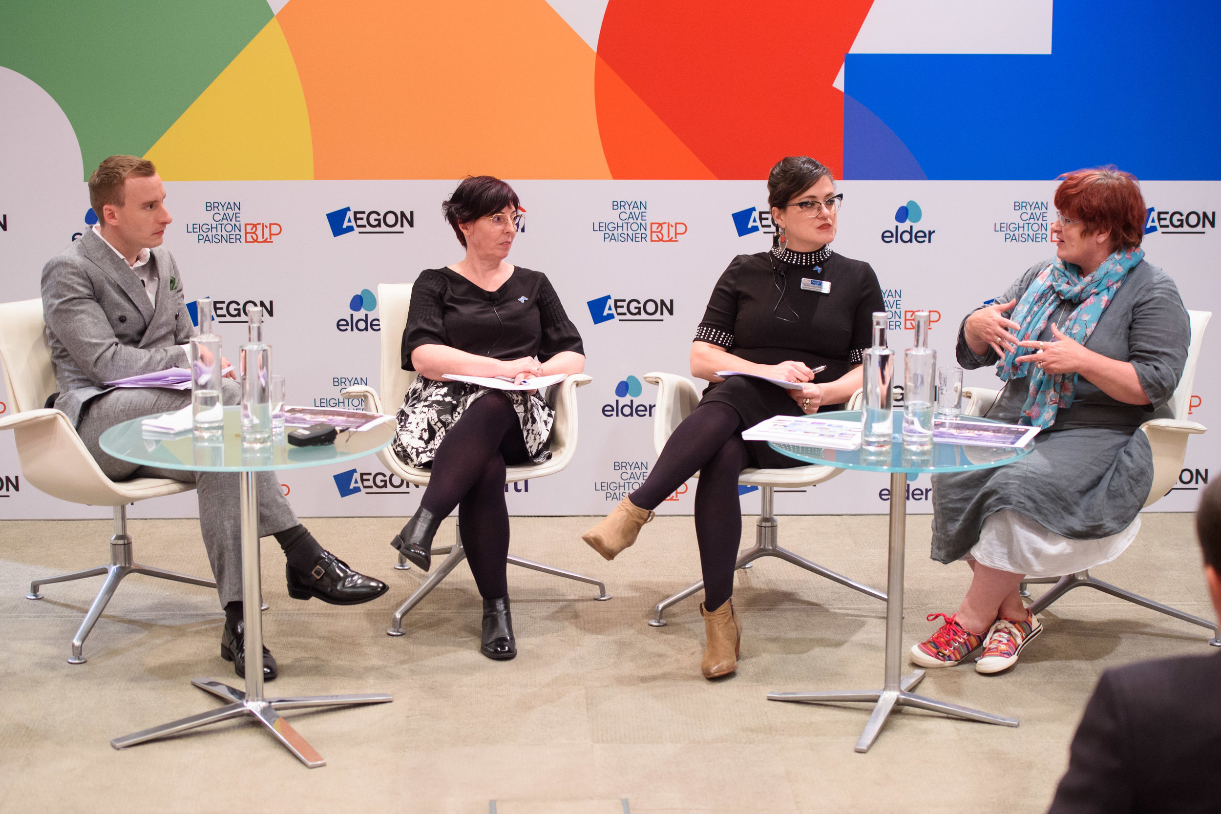 Chair Paul Brand, Anna Kear, Sydney Kopp-Richardson (SAGE USA) and Tina Wathern (Stonewall Housing) speaking at the PinkNews Ageing Summit 2019, at Adelaide House in London. (Matt Crossick/PA Wire)