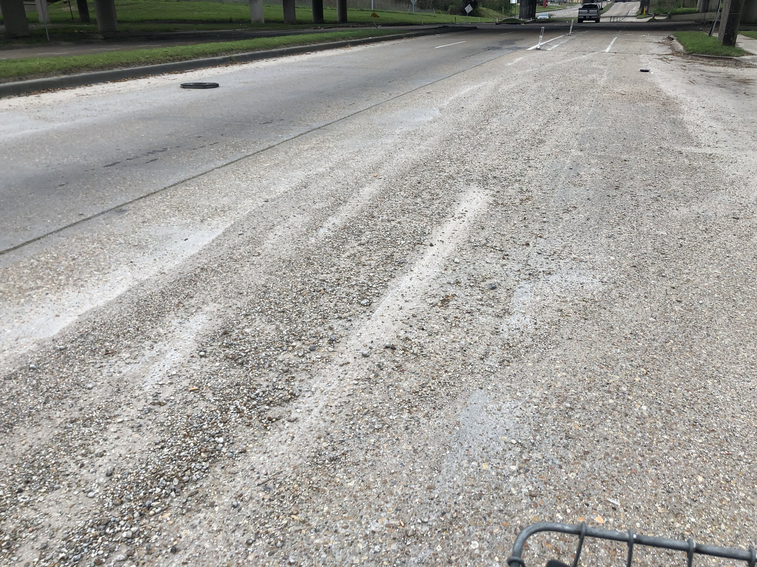 Gravel Fills the Bike Lane at Gentilly and Humanity